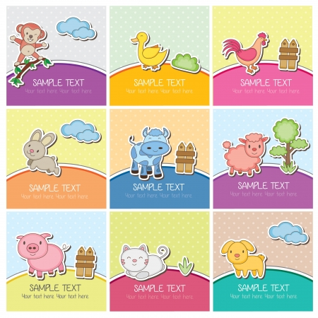 farm animal cartoon: cute farm animal cards Illustration