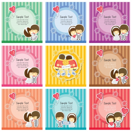 Cute wedding cards Vector