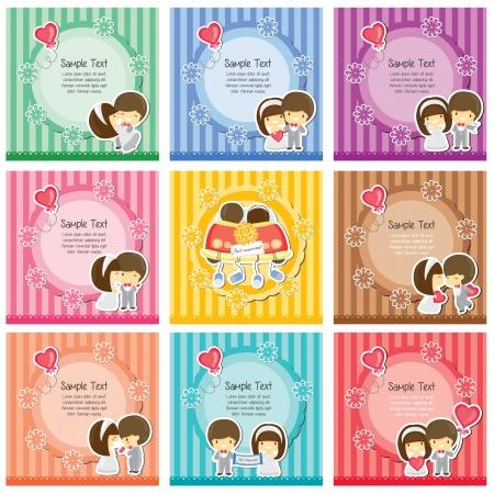love couple cartoon: Cute wedding cards