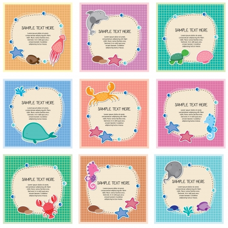 sea animals design layout set Vector