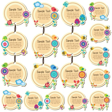 round floral tags design Vector