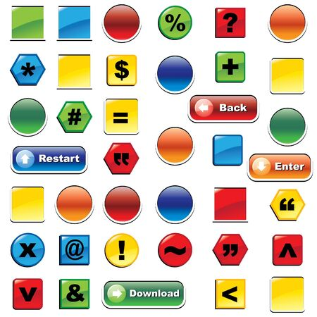 colorful icon and buttons set