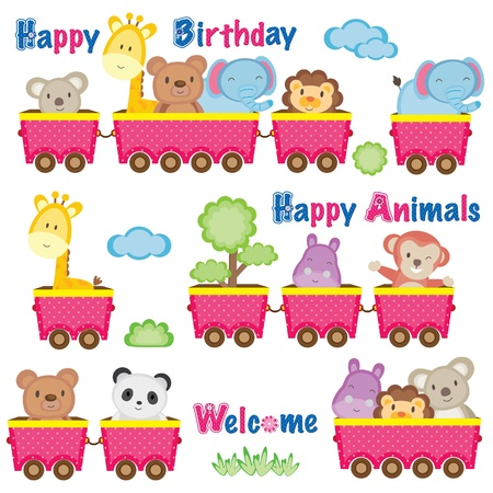 Wild animals on train Vector