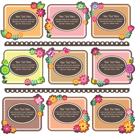 lady bug: floral polka dots frames design Illustration