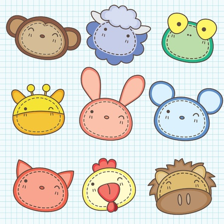 Cute animals head clip art A Illustration