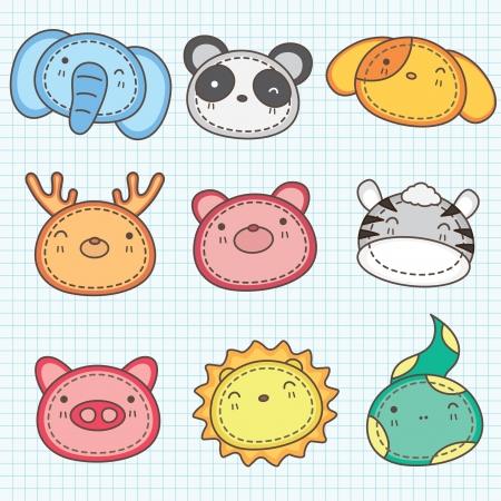 childrens birthday party:  Cute animals head clip art B Illustration