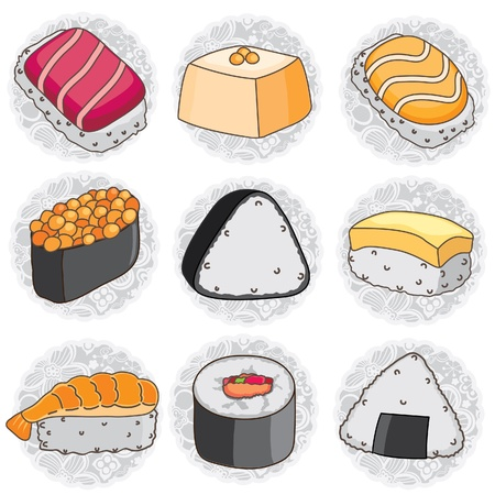 bean curd: Japanese sushi clip art Illustration