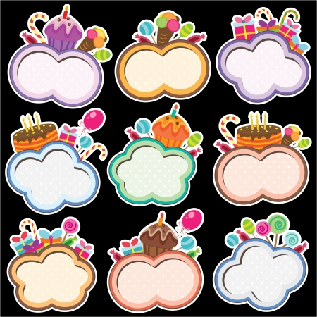 Party Cloud Frames Digital Design Vector