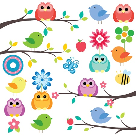 birds on tree digital clip art Vector