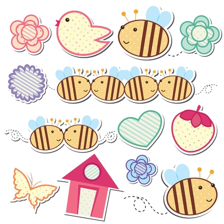 bee house: garden inspired digital clip art