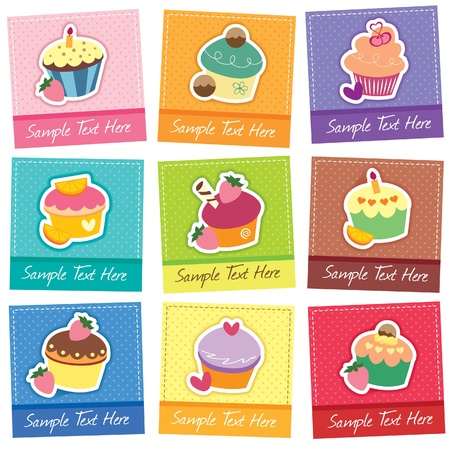cupcake cards digital set Vector