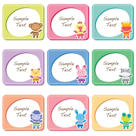 animal toy frames B cards Vector