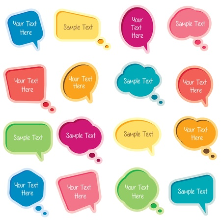 cute text box: bubble message set Illustration
