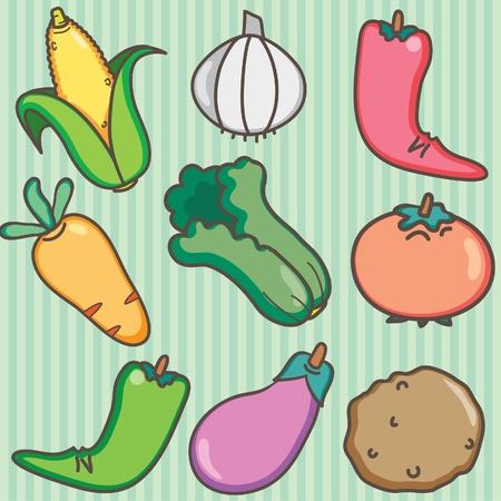 elote caricatura: hortalizas elaboradas mano conjunto Vectores