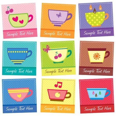 cute mugs layout design Vector