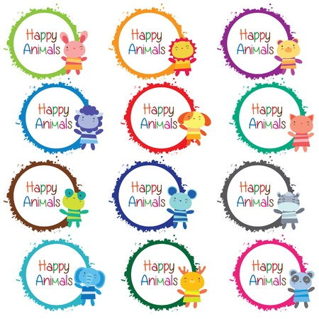 happy animals message board set Vector