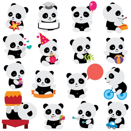 pandabeer: happy panda clip art Stock Illustratie