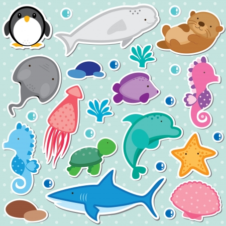 sea animals clip art Illustration