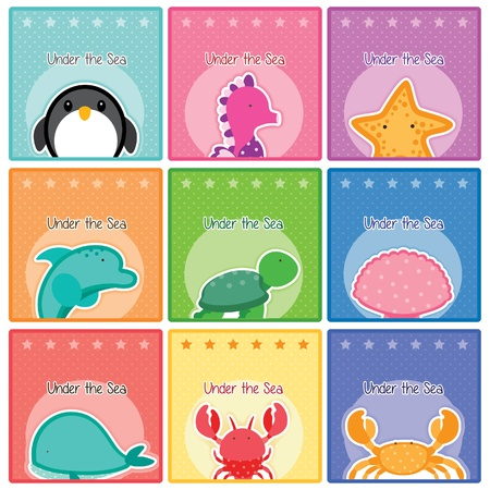 sea world cards collection Vector
