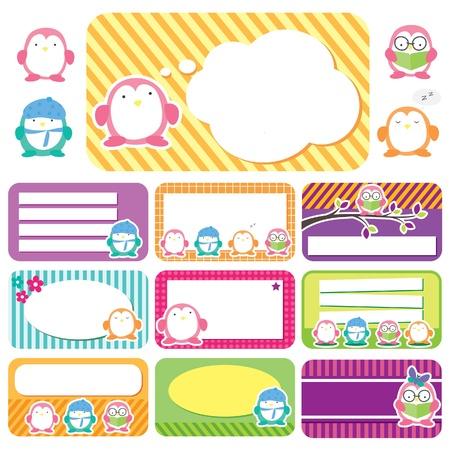 Penguin tags digital set Vector