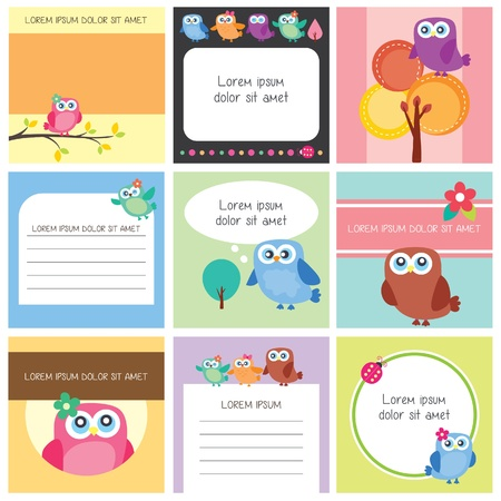 owlfully memo set Vector