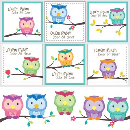 paper note: owls and friends digital set Illustration