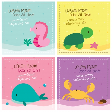 sea animals card set Vector