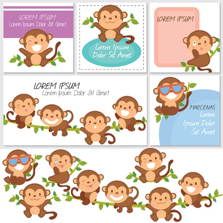monkey illustration: monos y amigos set digitales