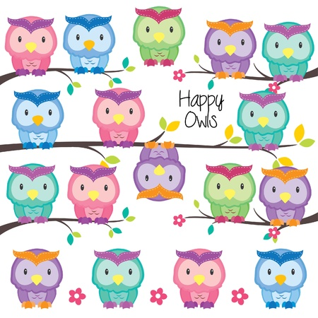 cute clipart: colorful owls set Illustration