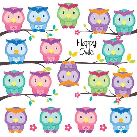 colorful owls set Illustration