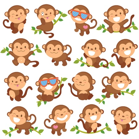 cute cartoon monkey: playful monkeys set