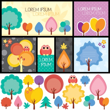 clip arts: autumn trees set