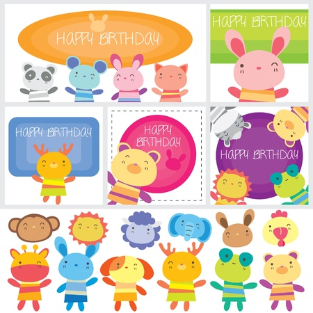 birthday animals set Vector