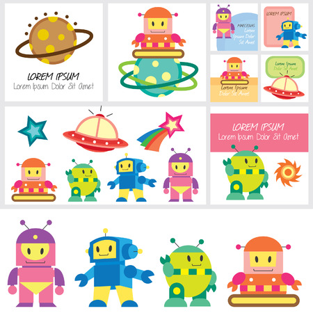 cute robot clip art and layout design Stock Vector - 23118226