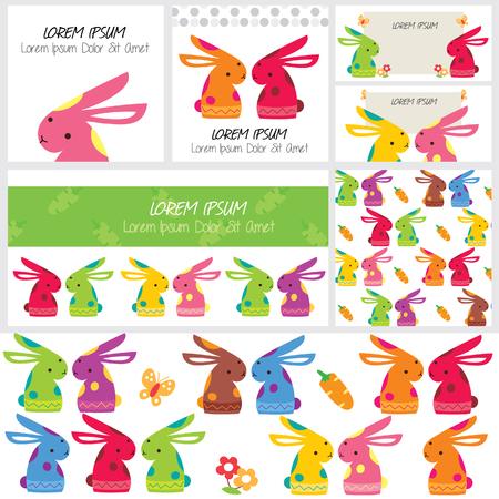 cute bunny clip art and layout design Vector