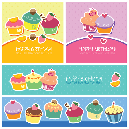 birthday dessert layout design Vector