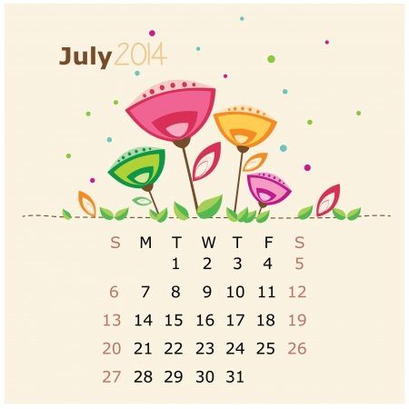 floral calendar 2014  july  Illustration