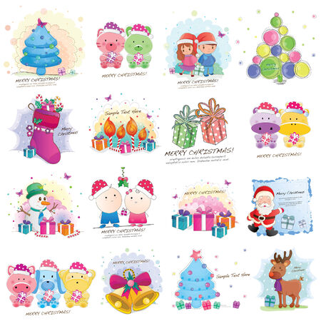 Christmas cards element and layout big collection Vector