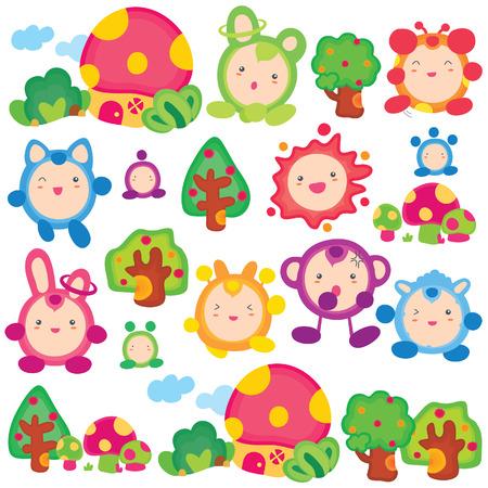 fairy tales series-animal fairies clip art set 免版税图像 - 24233365