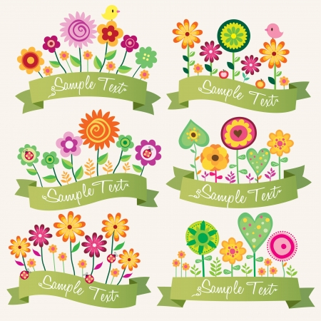 cute floral banner set Vector
