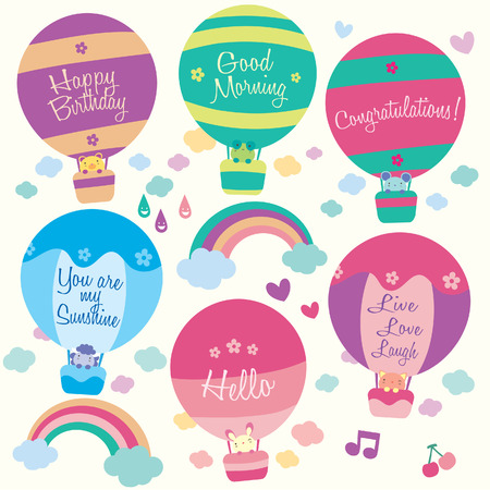 Hot air balloon animals clip art Vector