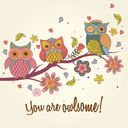 asian family: owls on tree illustration