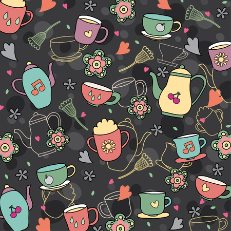 coffee and tea wallpaper design Vector