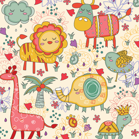 whimsical animals illustration Vector