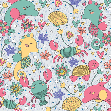 sea creatures whimsical illustration Vector