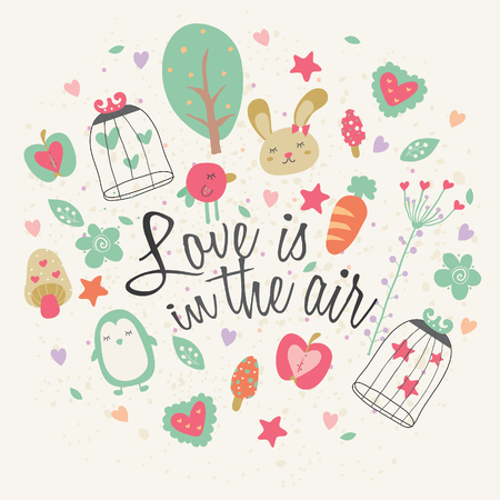 love is in the air greeting card design Vector