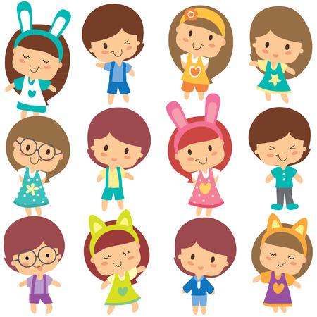 male friends: happy children clip art set