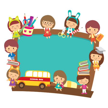 school kids with blackboard design Vector