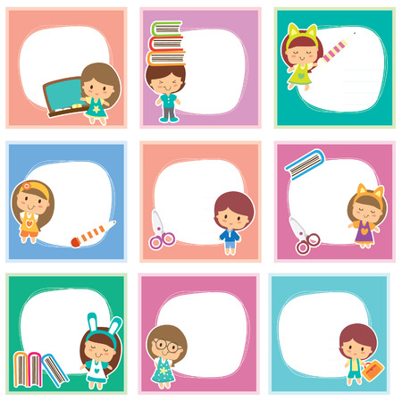 Happy students layout design Vector