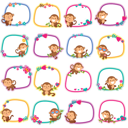 happy monkey layout design Vector